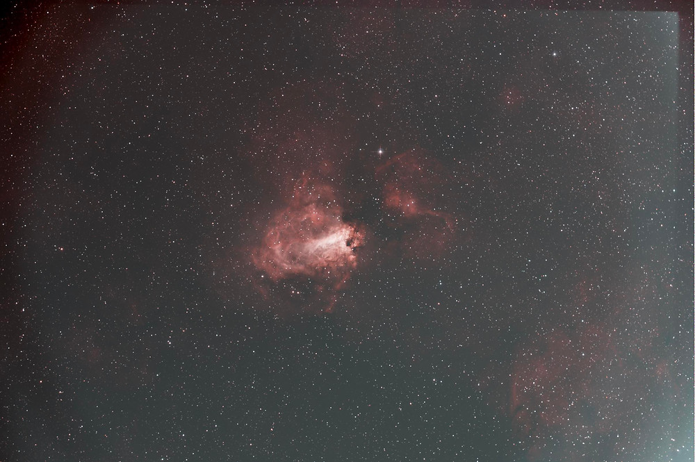 The Omega Nebula after stacking our Raw files