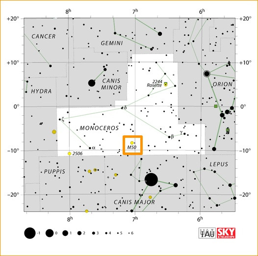 How to find the open cluster Messier 50