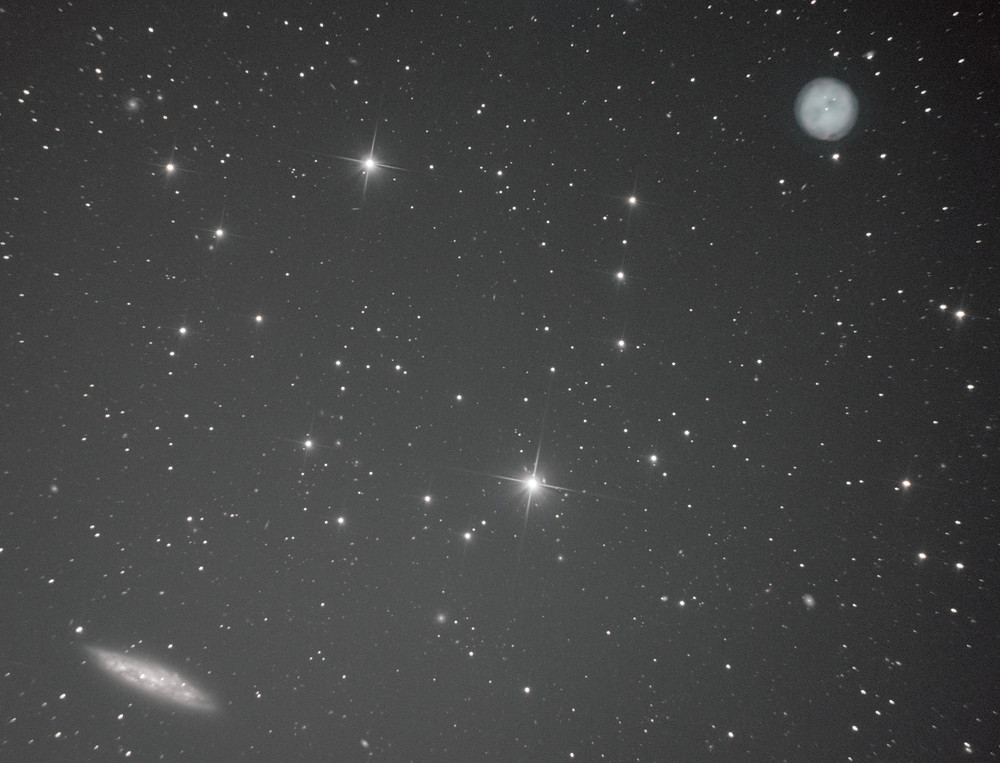 M97 the Owl Nebula and M108 the Surfboard Galaxy stacked LRGB from a ZWO ASI 1600MM Pro Astrophotography Camera