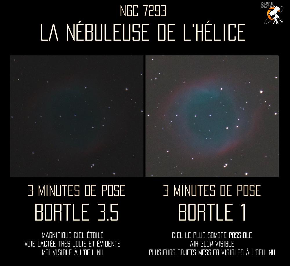 Comparison NGC 7293 sous ciels différents