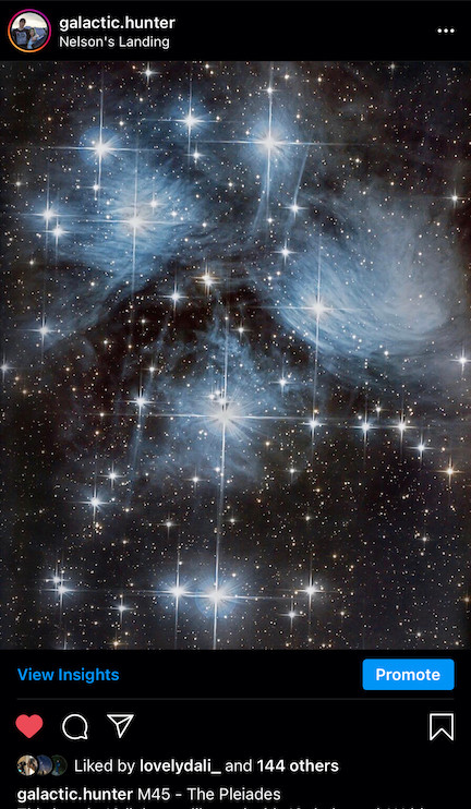 Pleiades Instagram Galactic Hunter