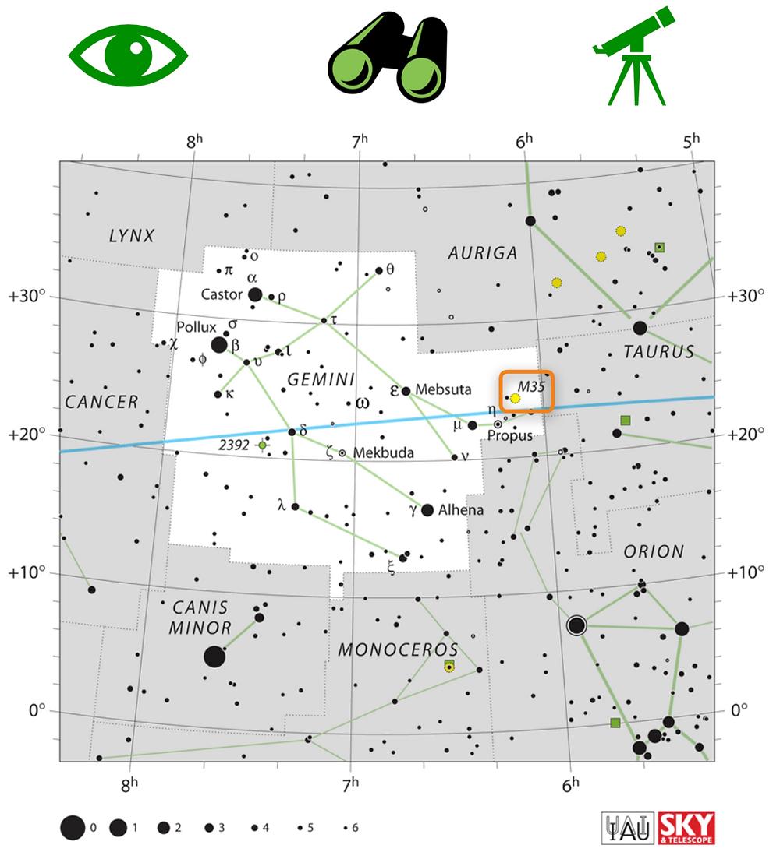 Trouver M35 dans le ciel nocturne : Carte