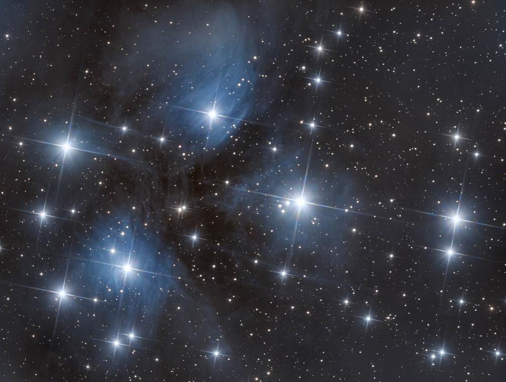 "The Pleiades Star Cluster (M45) astrophotography with a ZWO ASI 1600MM camera and Orion 8"" Astrograph telescope"