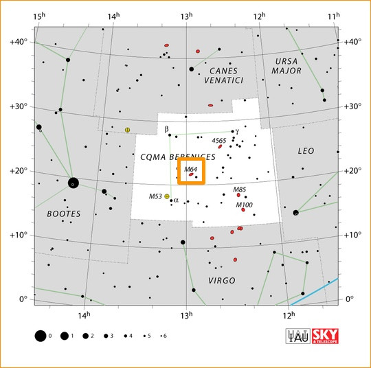 How to find M64 in the constellation Coma Berenices, map