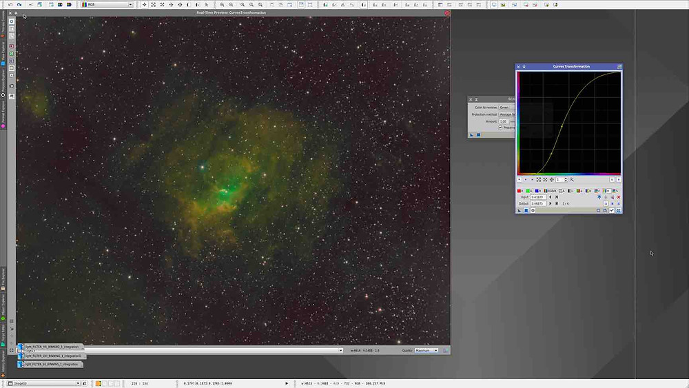Curves Transformation How to combine narrowband images in PixInsight, tutorial by Galactic Hunter in Hubble Palette