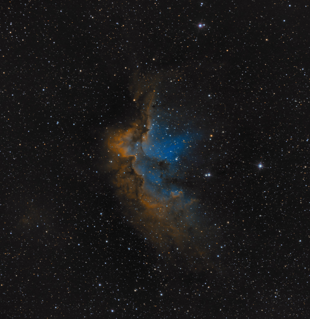 "NGC 7380, the Wizard Nebula - ZWO ASI 1600MM-Pro Astrophotography using a Orion 8"" Astrograph f/3.9 reflecting telescope in the Nevada desert and with an ASI Air"