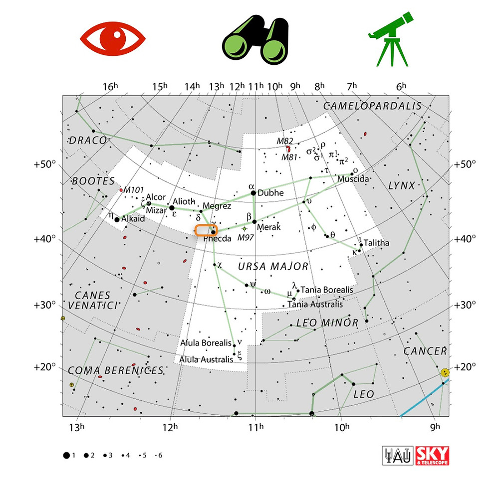 How to locate Messier 109 galaxy in the night sky, constellation of Ursa Major in the Big Dipper - Astrophotography