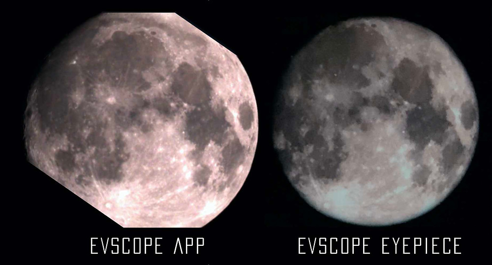 The Moon with the EVscope, app vs eyepiece difference