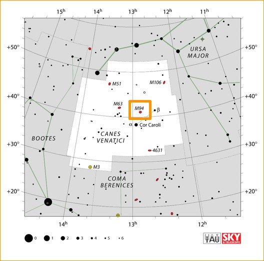 How to find M94 in the constellation Canes Venatici, map