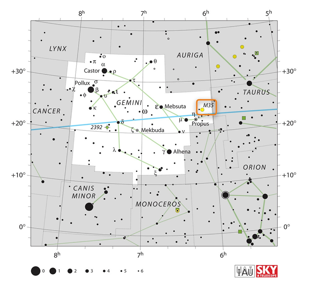 How to find the open star cluster Messier 35 in the night sky, constellation of Gemini
