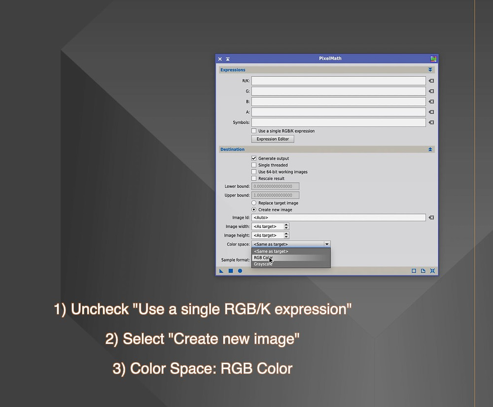 PixInsight PixelMath bicolor combination tutorial