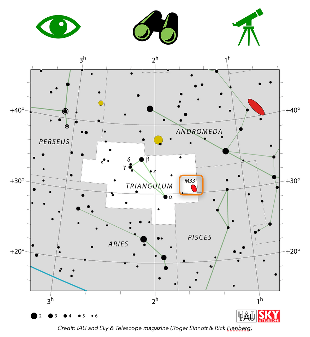 Map of where to find M33 the Triangulum Galaxy in the night sky, constellation of Triangulum near Andromeda, Perseus, Pisces and Aries