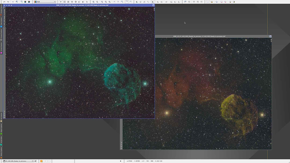 PixInsight: The Jellyfish nebula in different narrowband combinations
