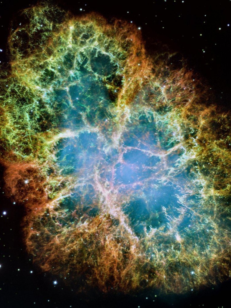 The Crab Nebula photographed by the Hubble Space Telescope and NASA/ESA. Supernova remnant in Taurus.