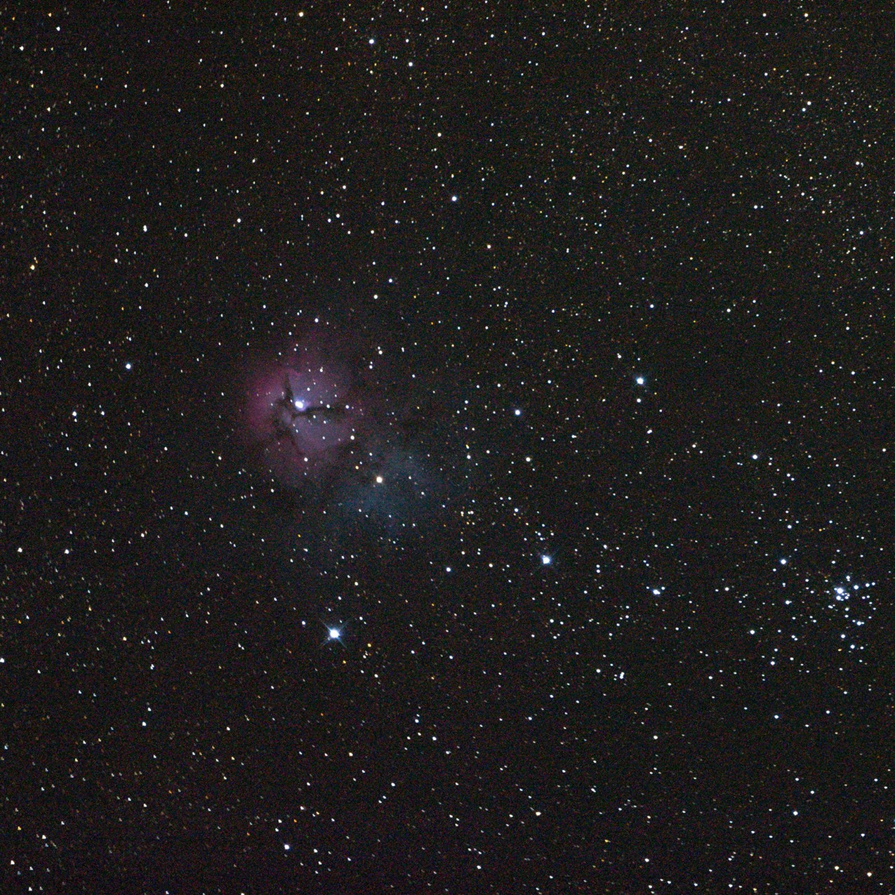 M20 the trifid nebula single shot 3 minutes with an unmodified canon t3i DSLR camera astrophotography