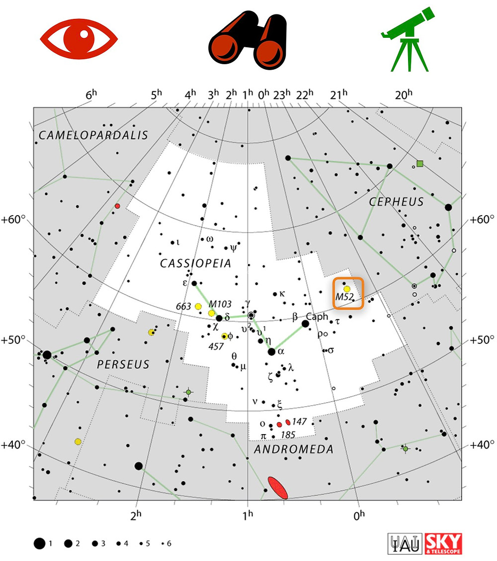 How to find the Bubble Nebula and open cluster Messier 52 in the night sky, map