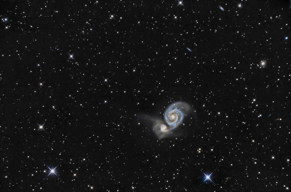 M51 the Whirlpool Galaxy DSLR Astrophotography Canon t3i Orion Telescope