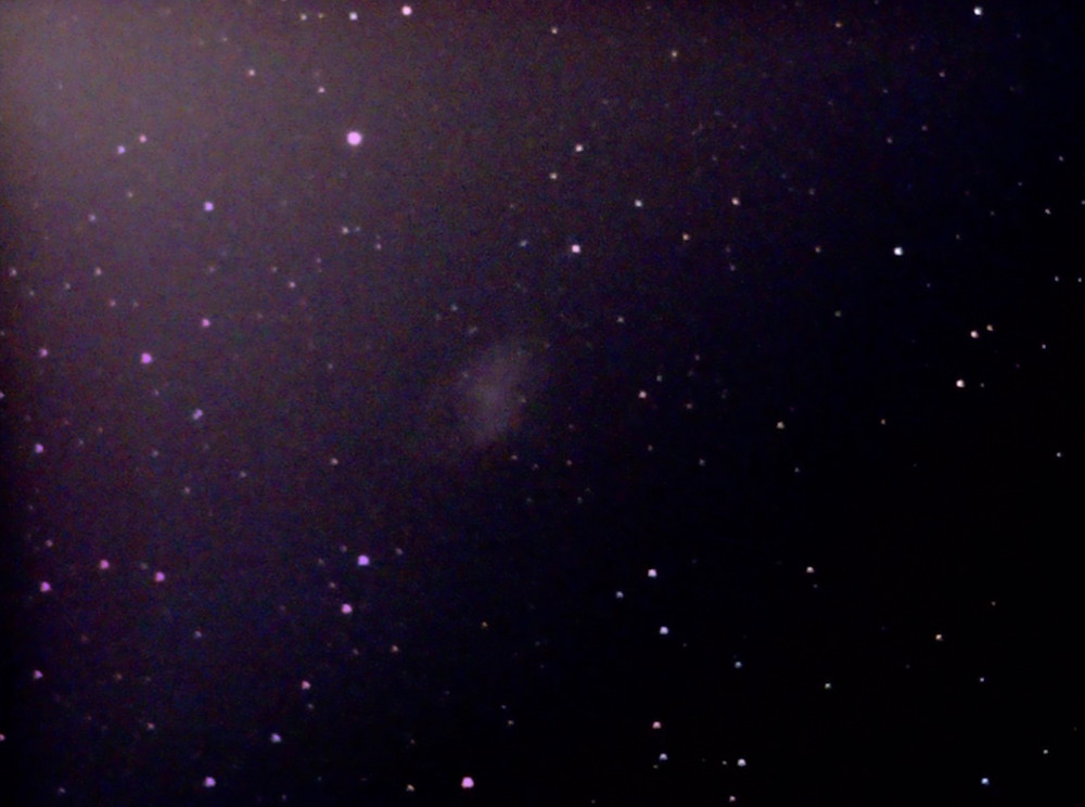 The Crab Nebula through the EVscope