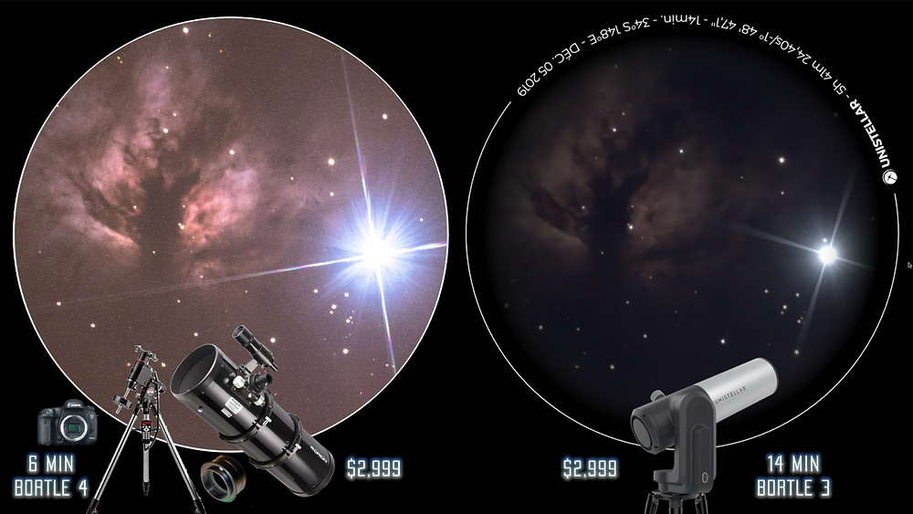 Regular Astrophotography telescope vs EVscope on Nebula