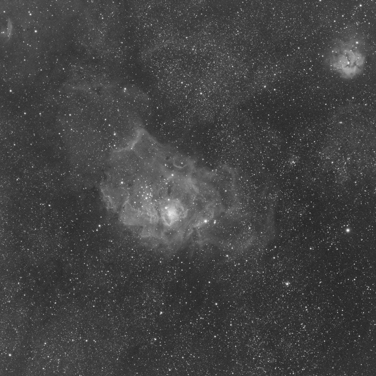 M20 the trifid nebula single shot of 3 minutes with a ZWO ASI 1600MM-pro CMOS Astrophotography camera and Meade 70mm APO Astrograph telescope - Sulfur II narrowband