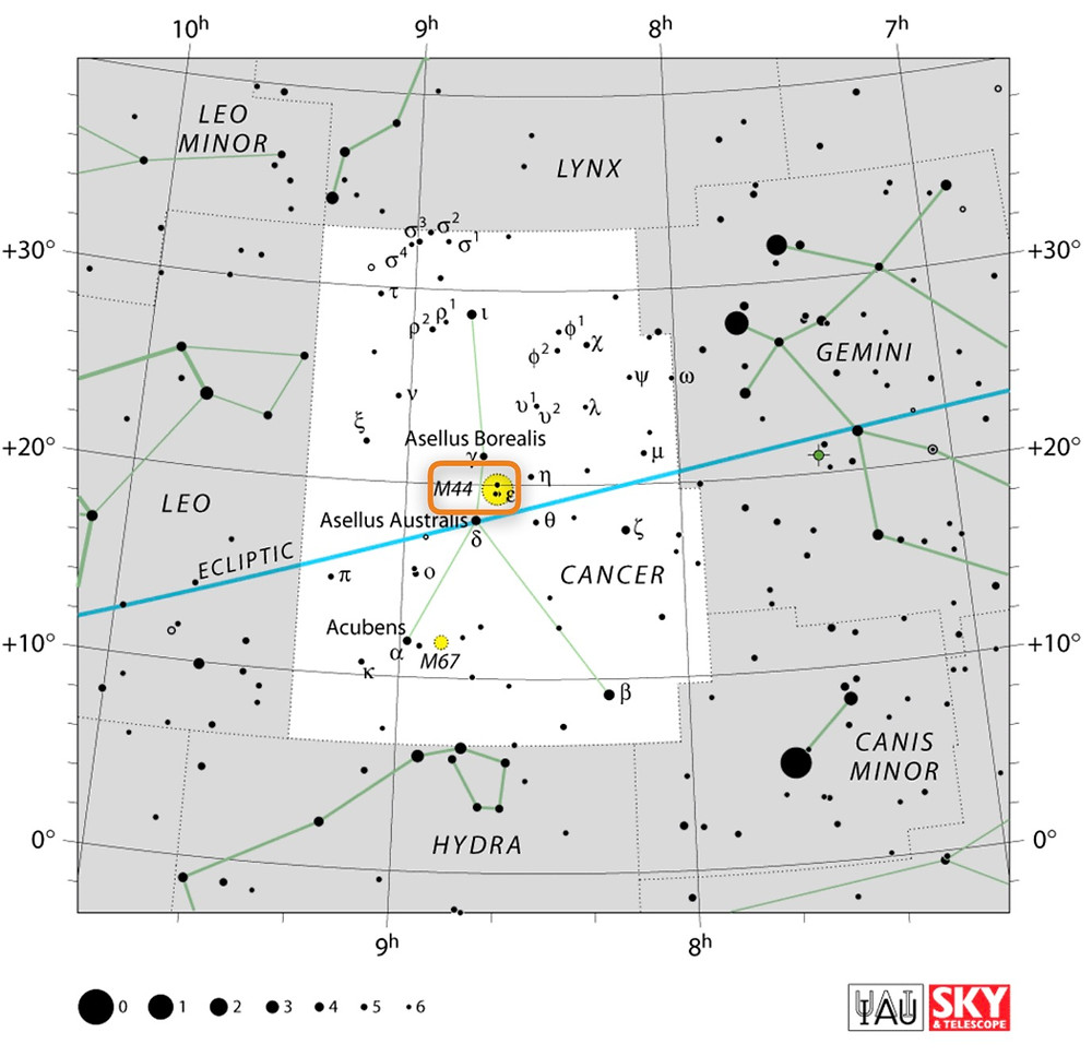 How to find the open star cluster Messier 44 the Beehive Cluster in the night sky, constellation of Cancer