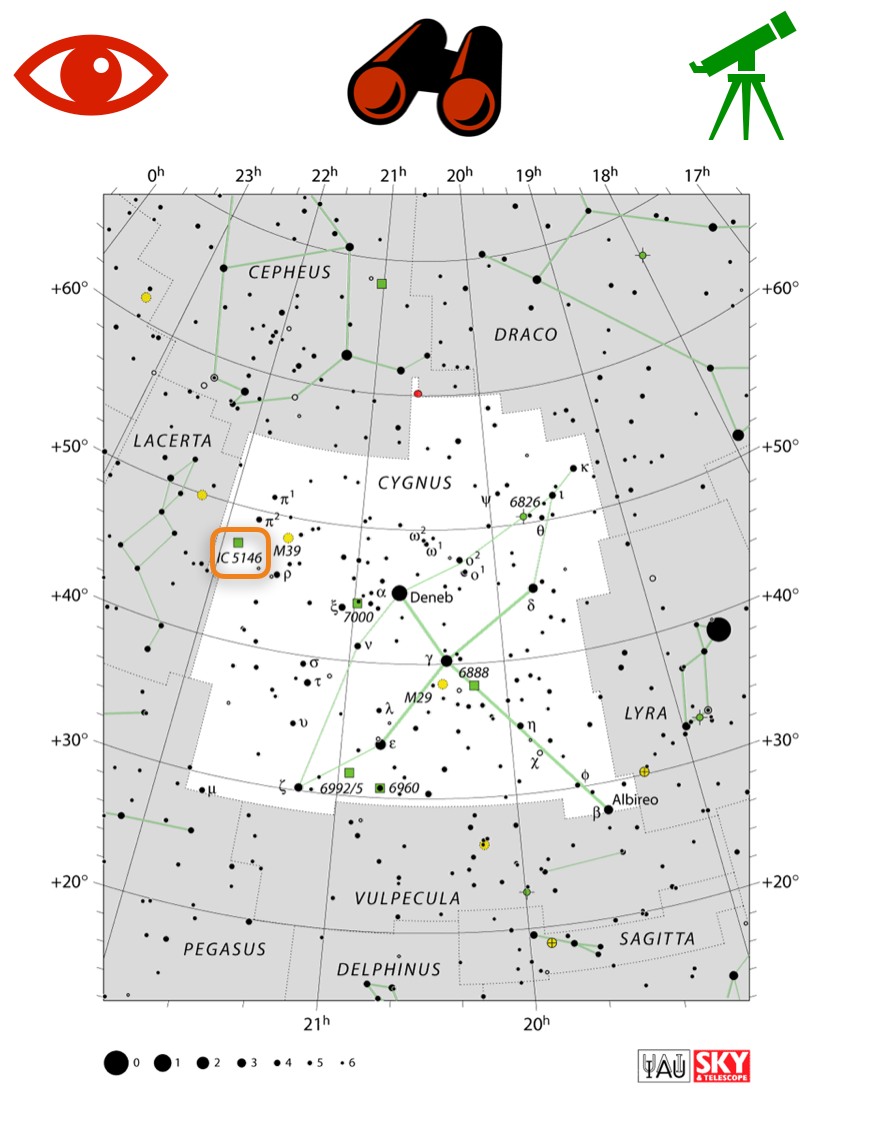 How to find the Cocoon Nebula, map