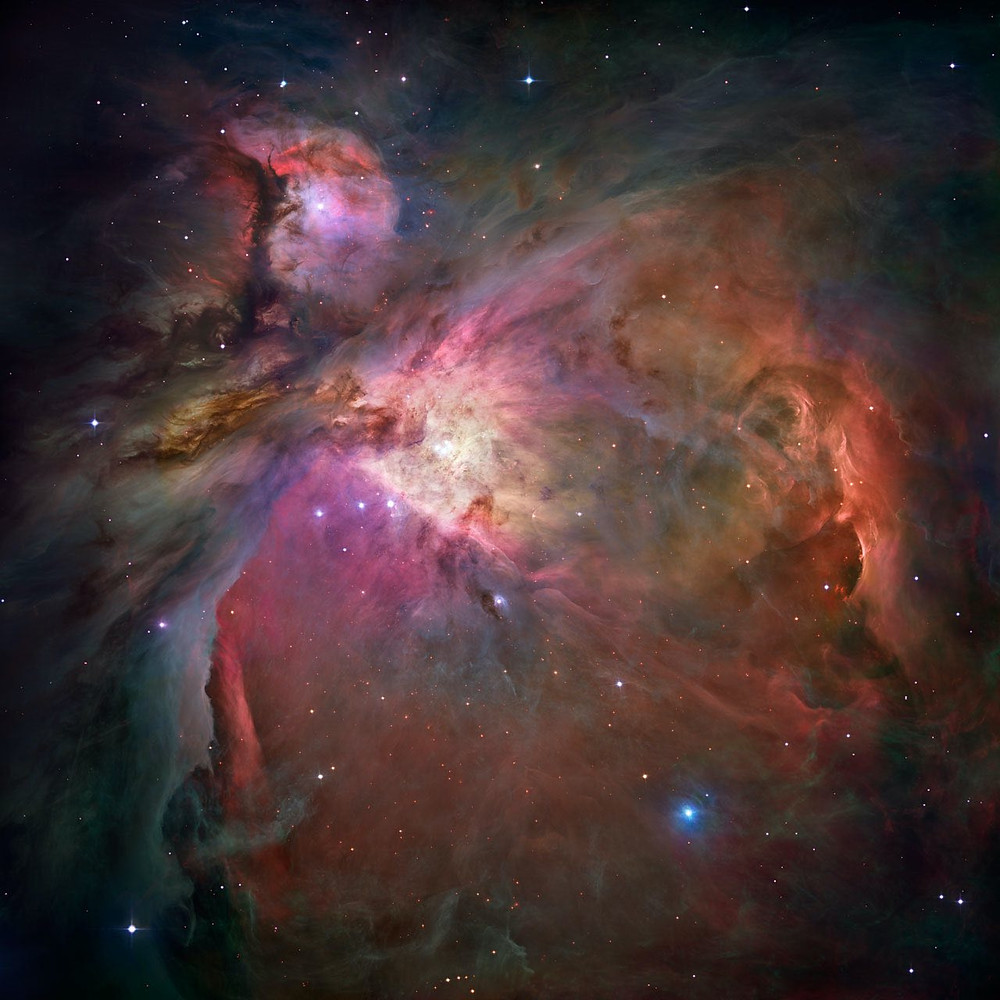 Messier 42 the Orion Nebula photographed by the Hubble Space Telescope, NASA/ESA, spiral galaxy in Leo