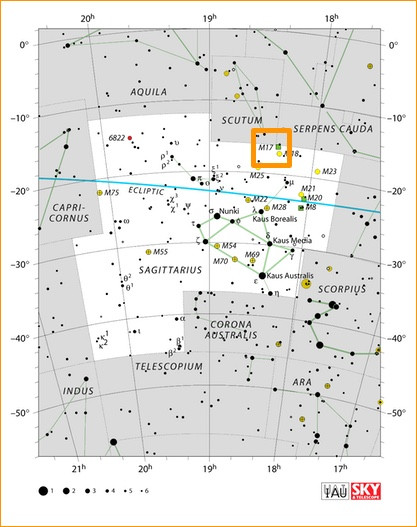 How to find the Omega Nebula M17 in the night sky, map
