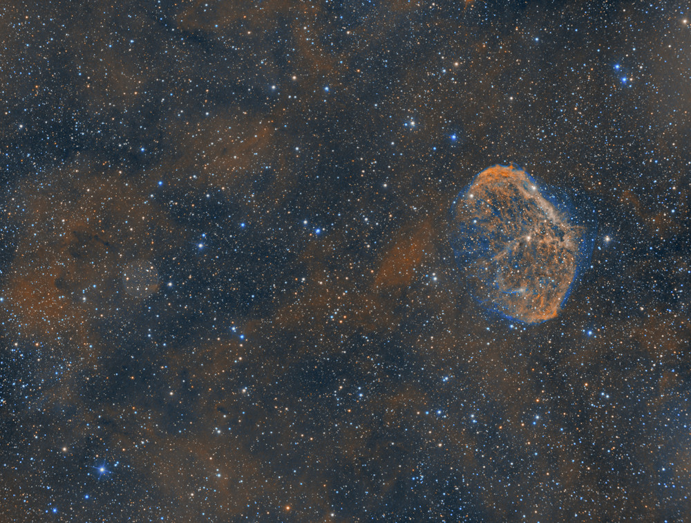 "The Crescent Nebula NGC 6888 in Cygnus - ZWO ASI 1600MM-Pro Astrophotography using a Orion 8"" Astrograph f/3.9 reflecting telescope in the Nevada desert and with an ASI Air, LRGB"