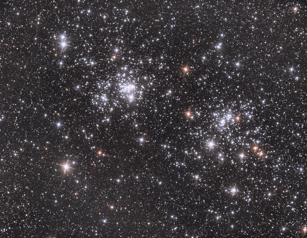 """NGC 869 and NGC 884, The Double Cluster in Perseus - ZWO ASI 1600MM-Pro Astrophotography using a Orion 8"""" Astrograph f/3.9 reflecting telescope in the Nevada desert and with an ASI Air, LRGB"""
