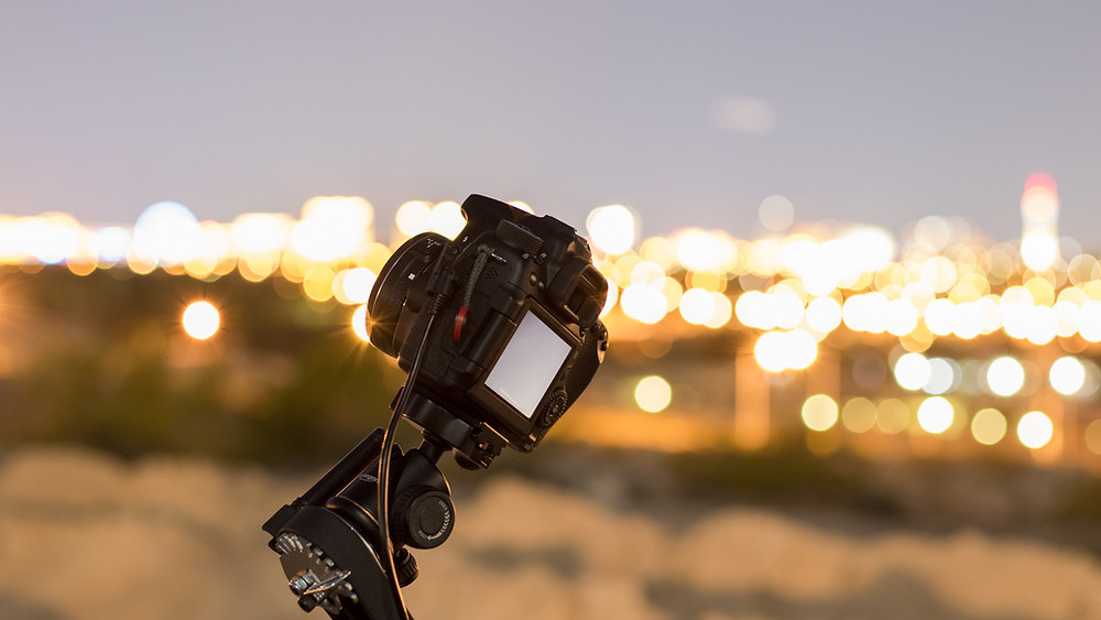 Omegon Mini Track LX2 in front of the Las Vegas Skyline, Nevada Astrophotography