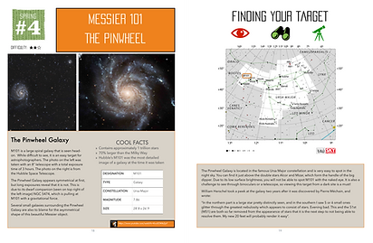 The Astrophotographer's Guidebook open to a page about Messier 101 the Pinwheel galaxy with tips to photograph it and how to locate it in the night sky