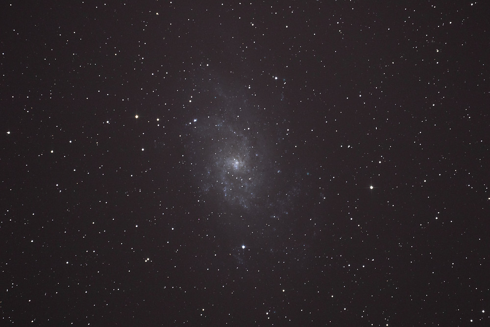 "M33 the Triangulum Galaxy astrophotography single shot unedited using an unmodified DSLR camera and an 8"" telescope"