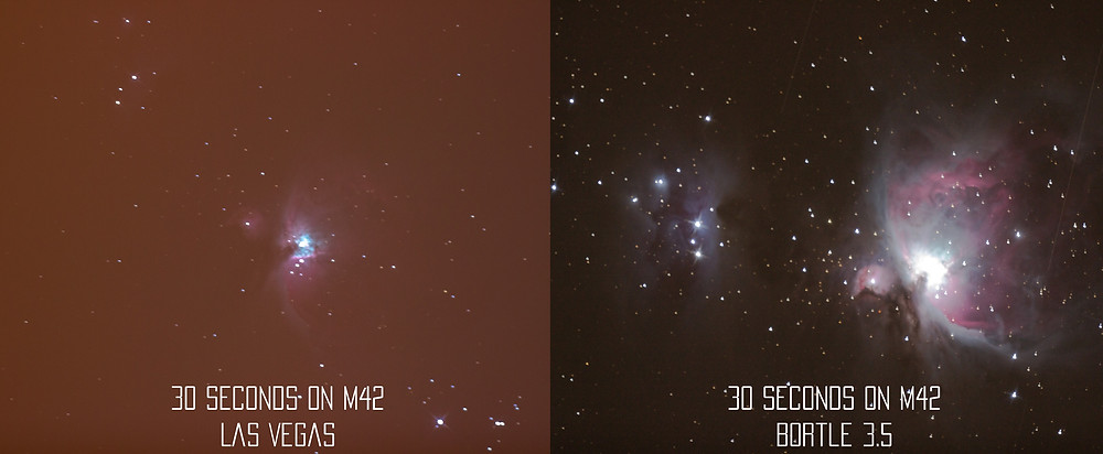 The Orion Nebula (M42) single 30 second shot comparison from Las Vegas (Bortle 9) and the desert (Bortle 4) astrophotography with a DSLR camera and a telescope