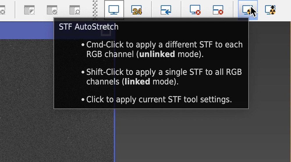PixInsight STF shortcut