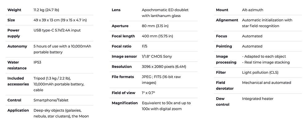 Stellina smart telescope specifications sheet