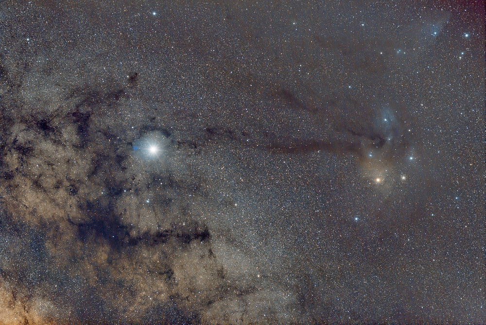 Rho Ophiuchi - Unmodified DSLR camera Astrophotography tracking the sky with an Omegon Mini Track LX2 - 40 minutes total exposures using a 50mm lens.