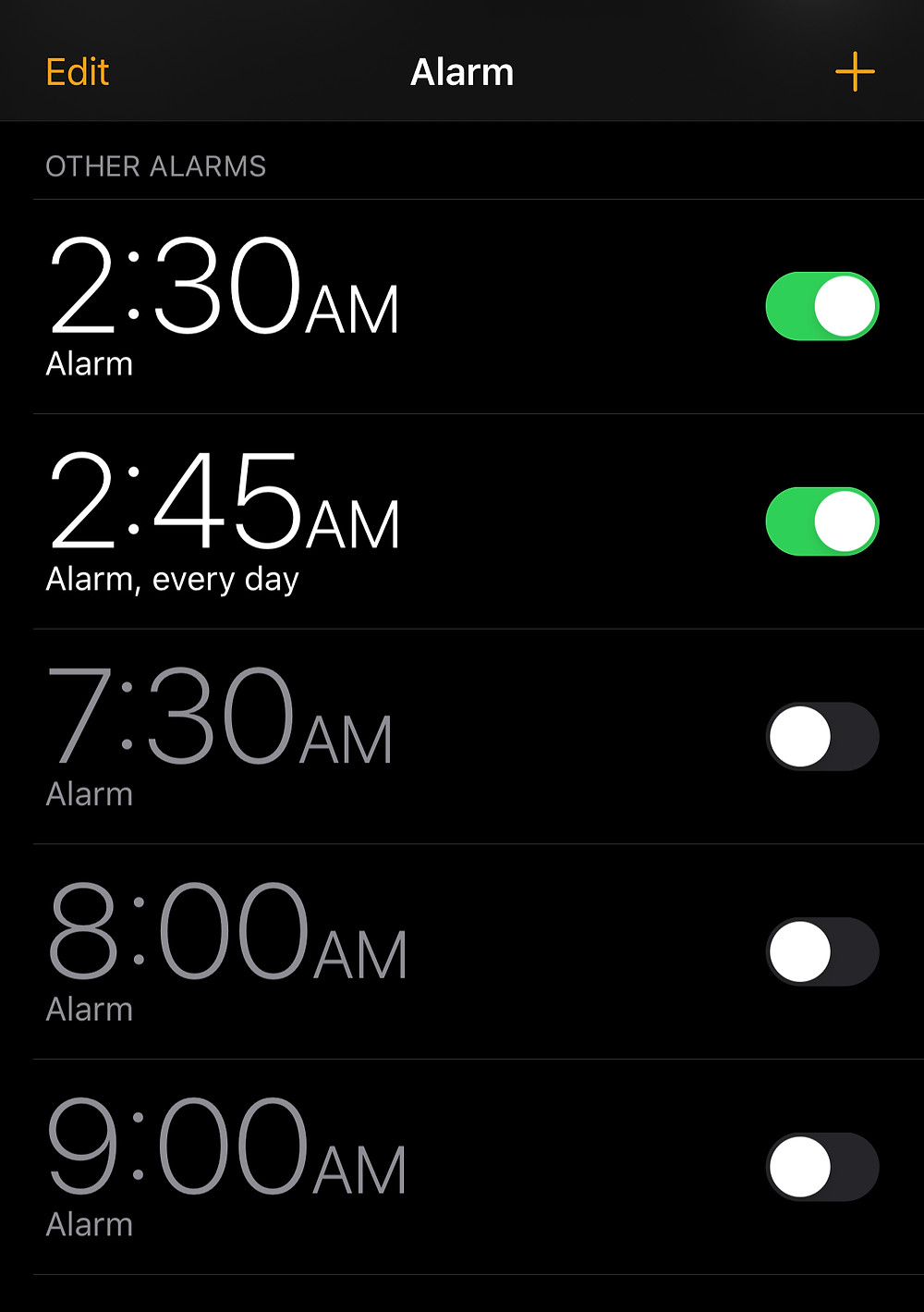 iPhone Alarms 2AM and 3AM