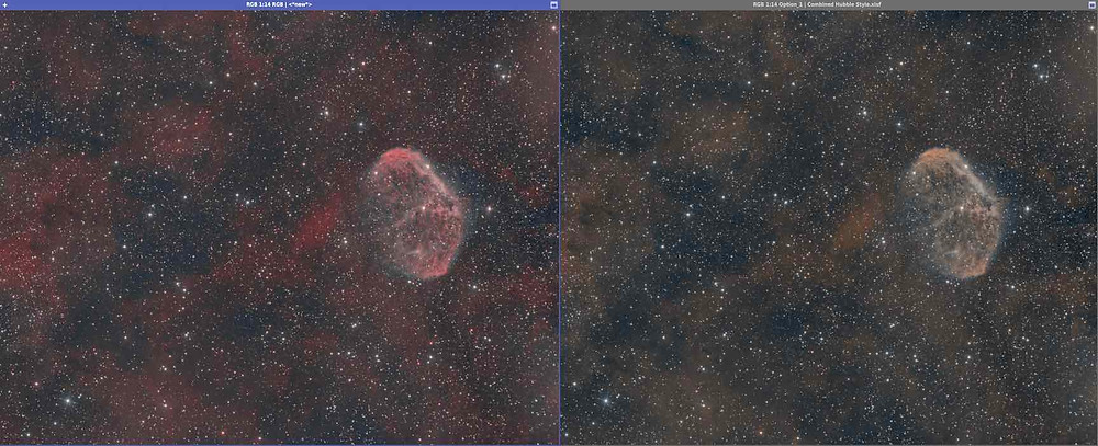 The Crescent Nebula Astrophotography, RGB vs Hubble Palette style of bicolor combination