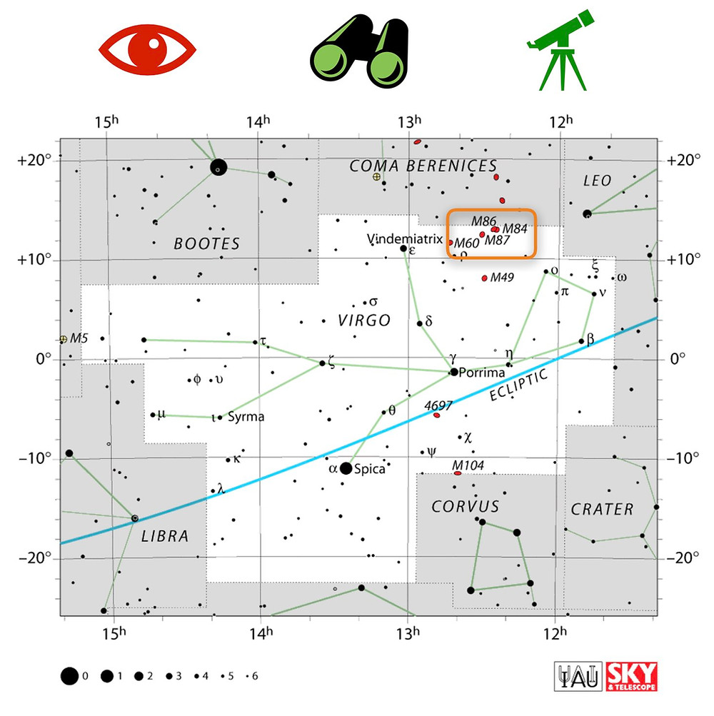 How to find Markarian's Chain in Virgo in the night sky, map