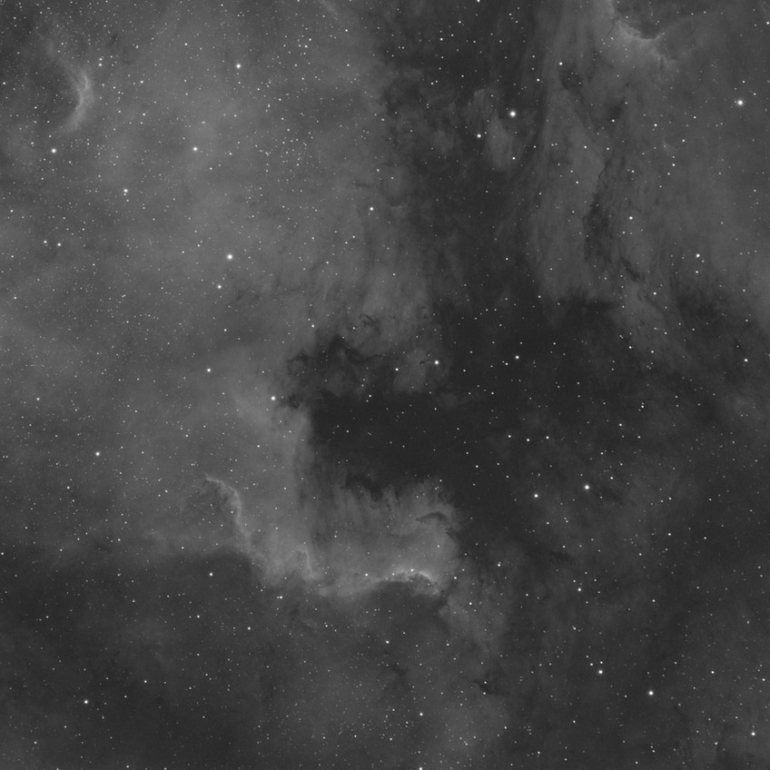 NGC 7000, 1 hour of Ha with the ASI 1600MM Astrophotography CMOS camera and the Meade 70mm APO Astrograph telescope
