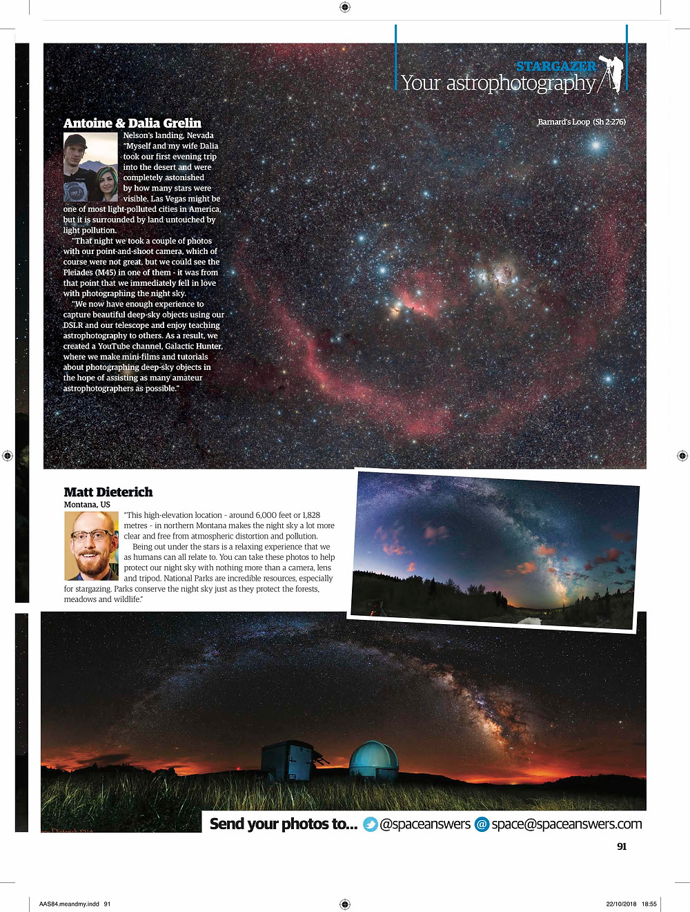 Galactic Hunter Barnard's Loop featured on All About Space Magazine, Astrophotography with an unmodified DSLR camera