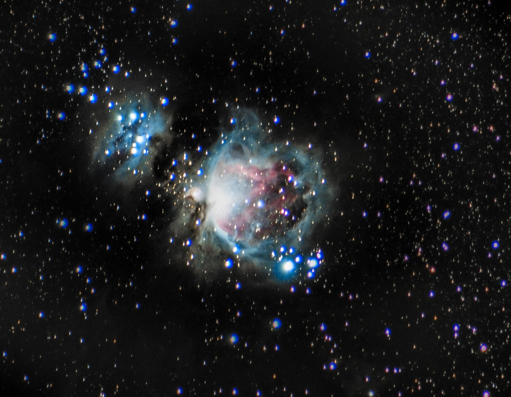 The Orion Nebula taken with a Canon t3i and a 300mm telephoto lens - Wide field Astrophotography without a telescope in Las Vegas, Nevada