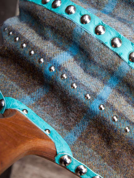 Double/Mull bellows with Moon tartan, ostrich trim and nickel studs