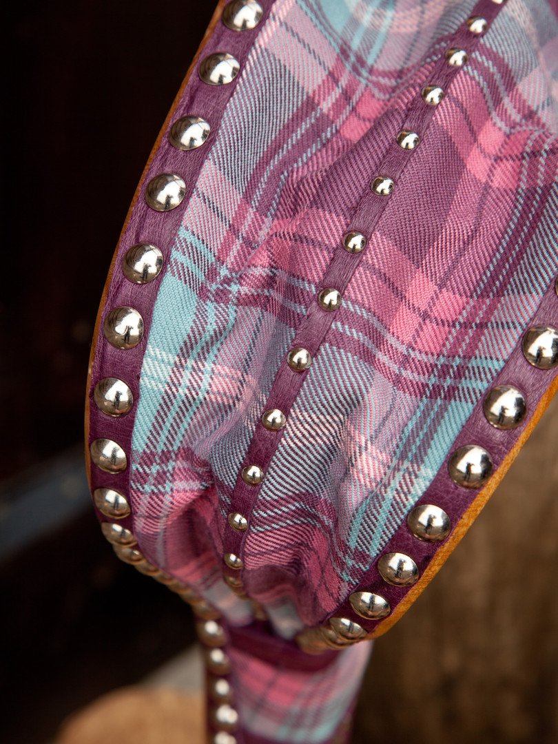 Coll with tartan commission, ostrich trim and nickel studs