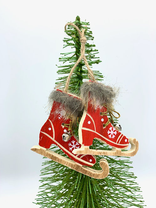 Hanging Wooden Ice Skates