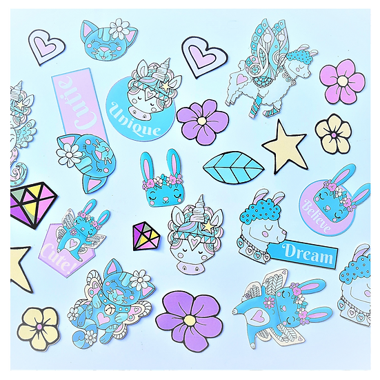 Pack Of 25 Whimiscal Stickers
