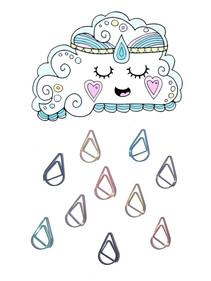 cloud paper clips raindrops