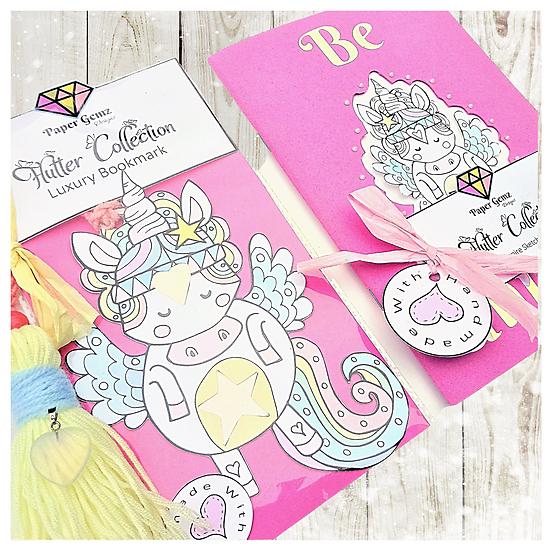 Unicorn Bookmark and Notebook Sketchbook Set