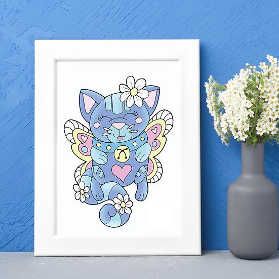 Cute Cat Wall Art Print